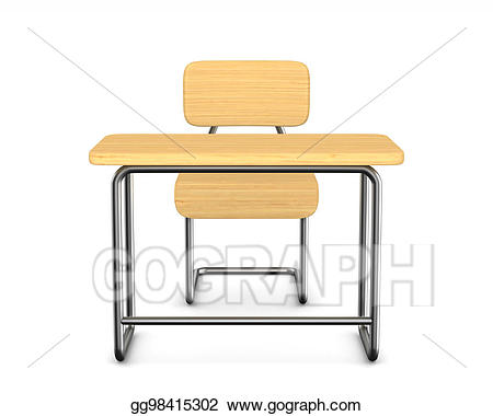 Clipart desk 3d school. Stock illustration and chair