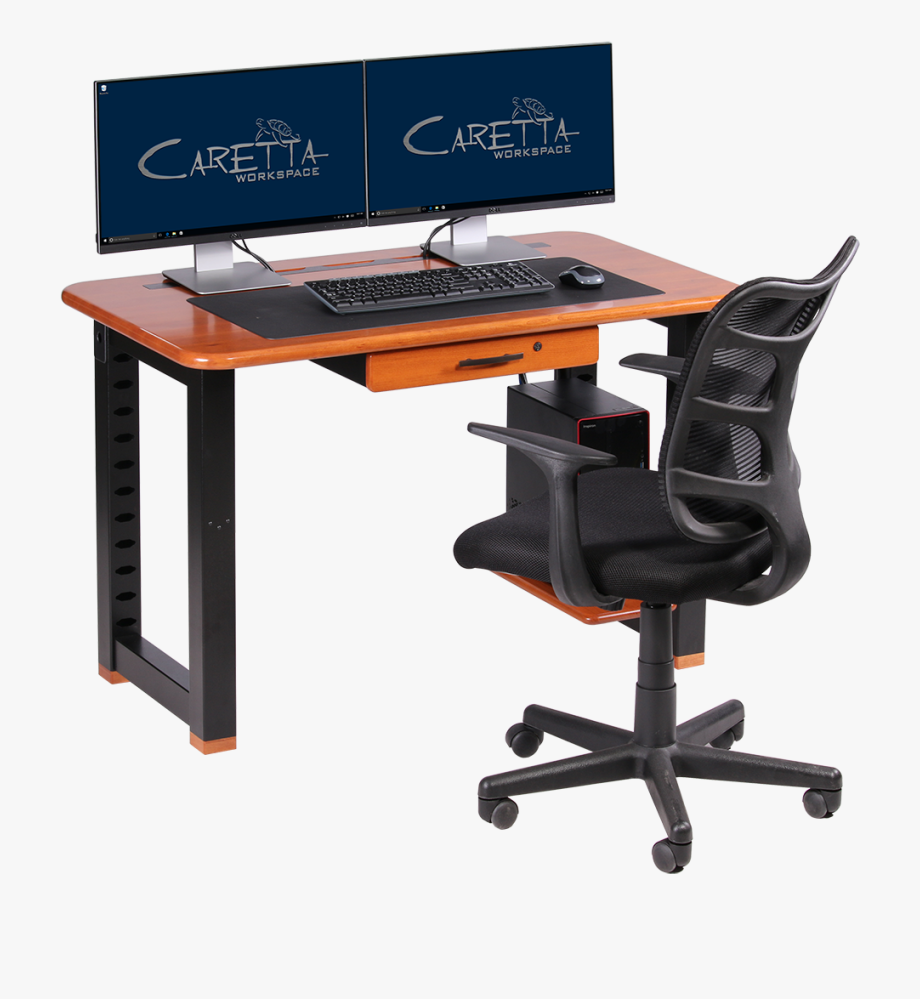 Desk clipart attached chair. Office blue colour