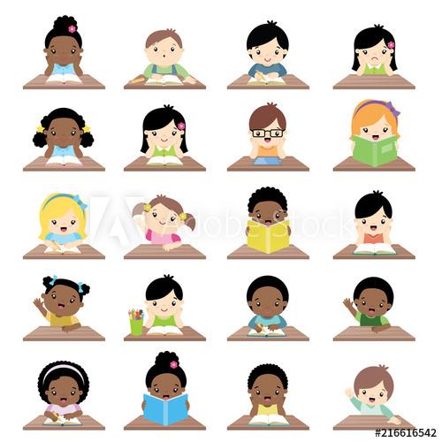 Clipart desk big school. Interracial children sitting at