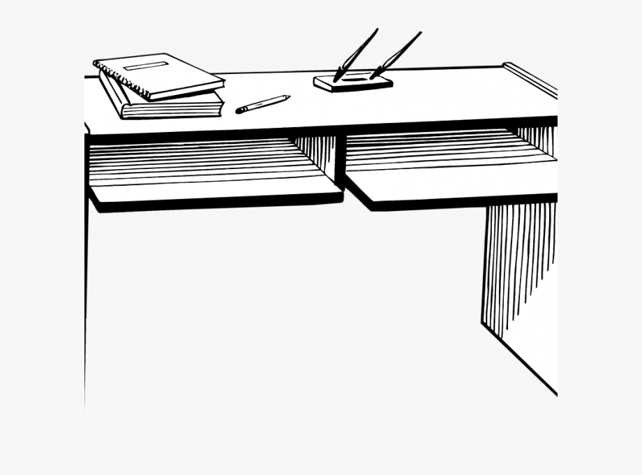Desk clipart black and white. Transparent background