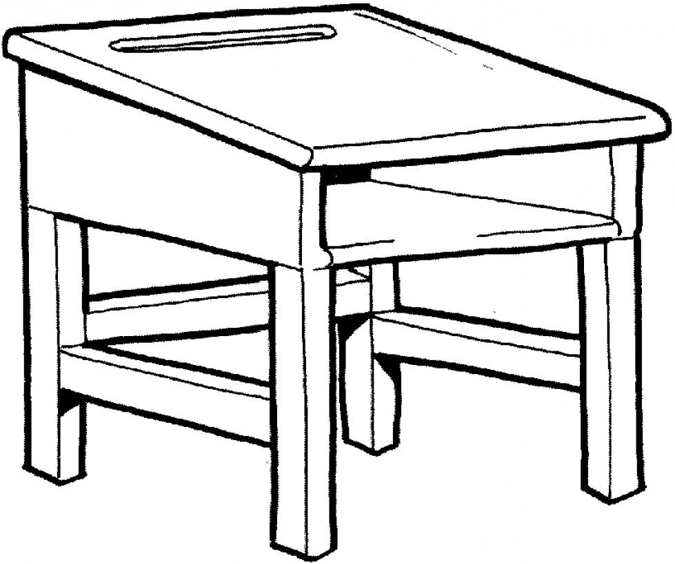 Top teacher clip art. Desk clipart black and white