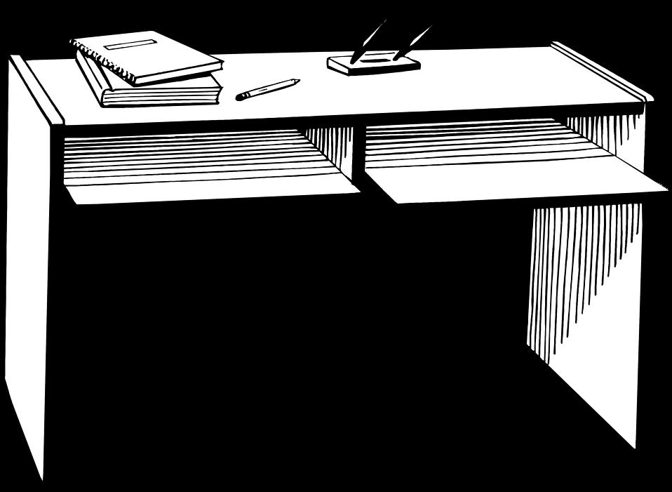 Black and white desk. Furniture clipart book table