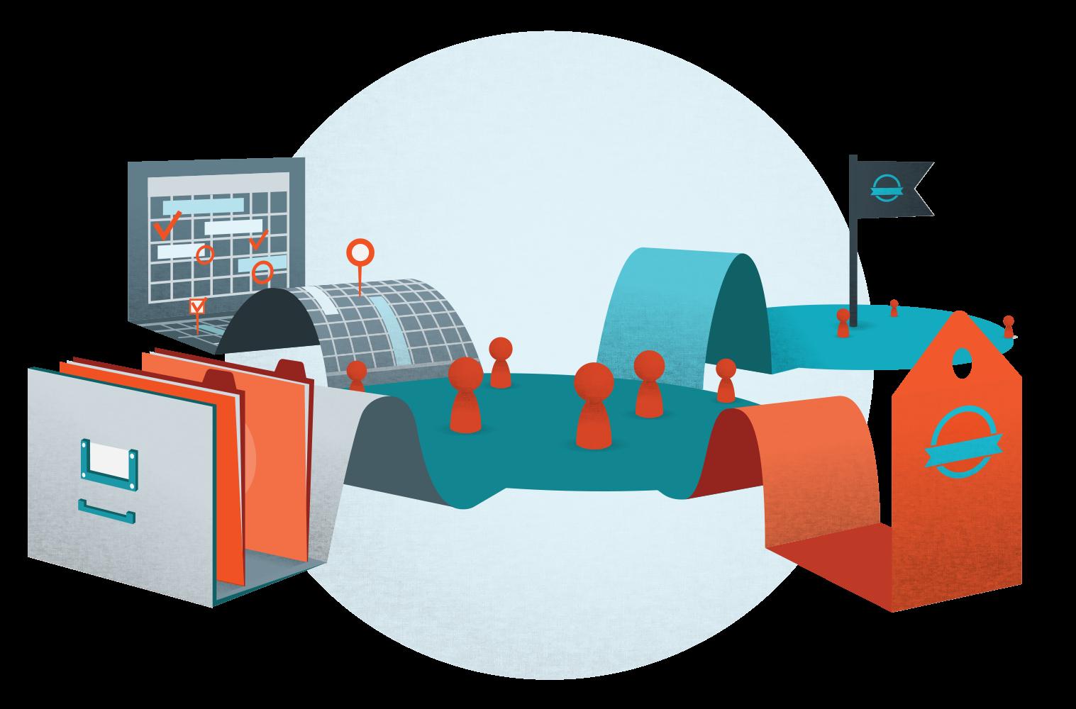 Content marketing business management. Organization clipart resource