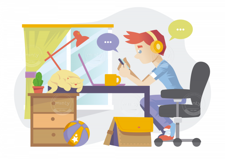 A freelancer in room. Desk clipart busy desk