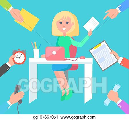 Vector woman at work. Desk clipart busy desk