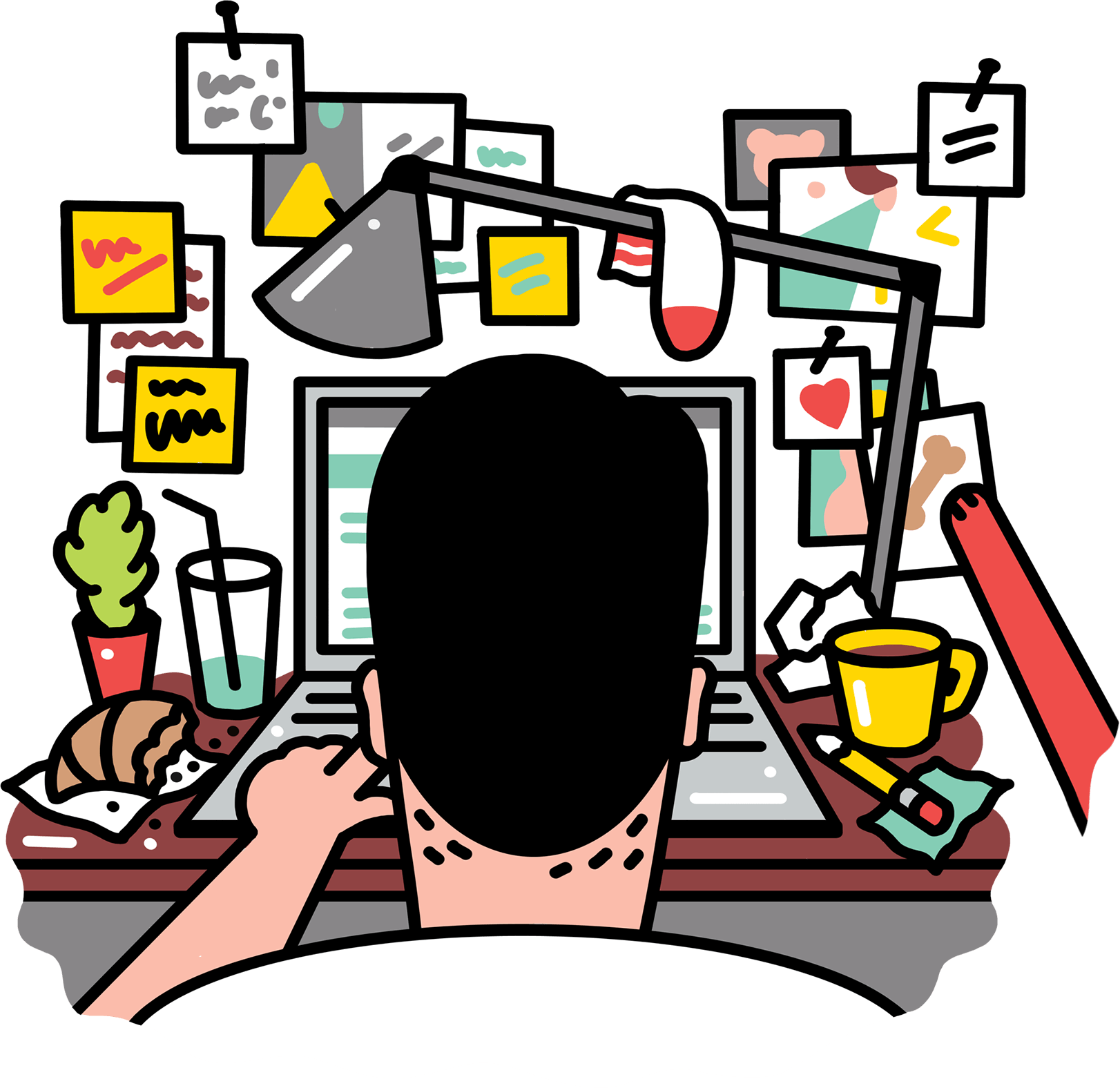 Creative working at a. Desk clipart busy desk