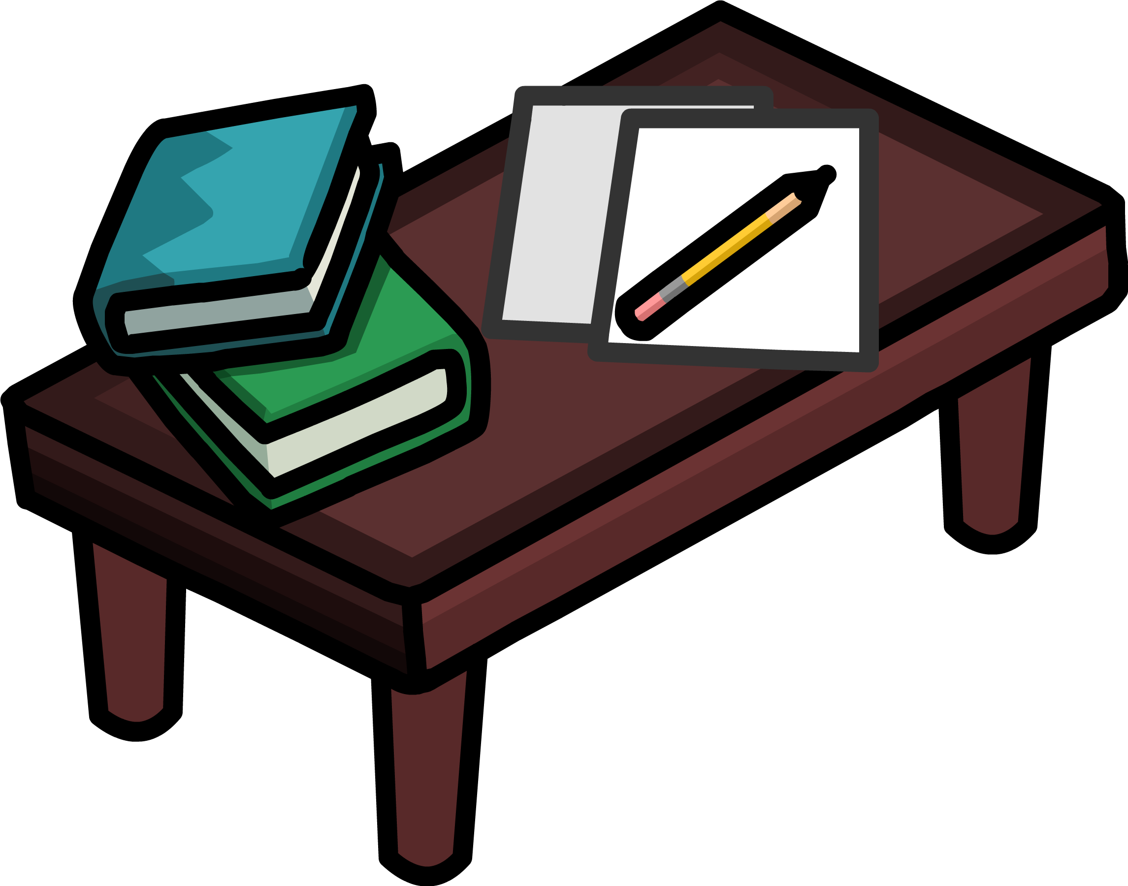 Cpu desk club penguin. Clipart table table student