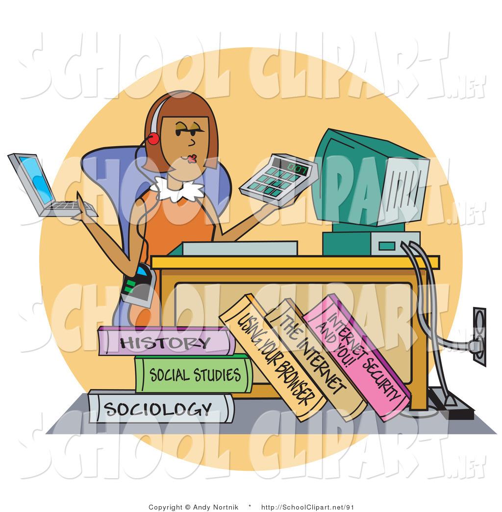 Clipart desk college student. Clip art of a