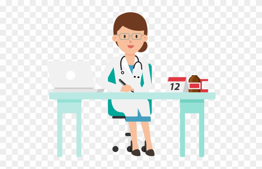 Desk clipart doctor. Working at cartoon png