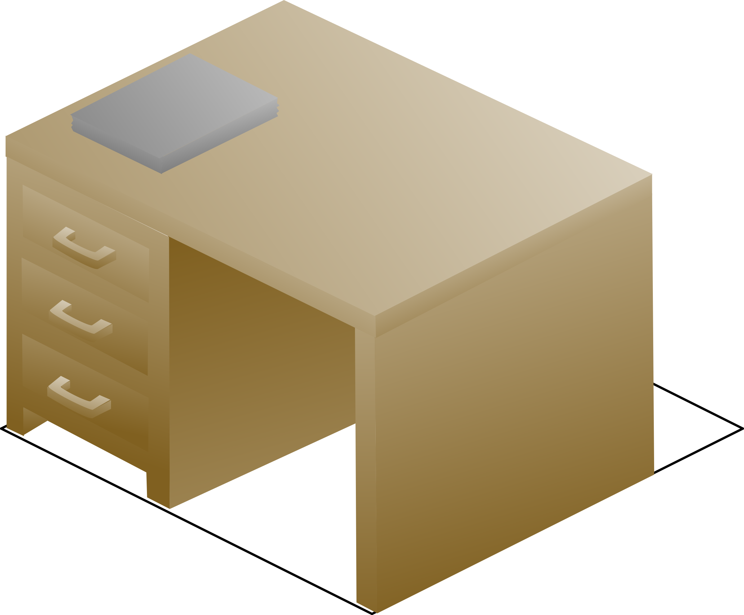 Isometric right front view. Desk clipart desk drawer