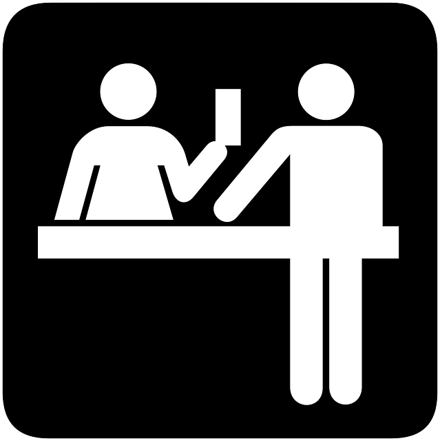 Office receptionist computer icons. Clipart desk front