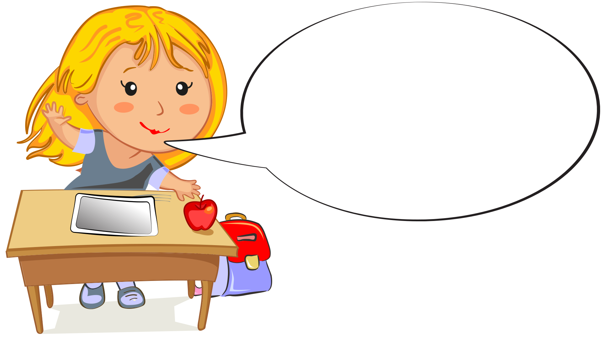 Desk clipart hand on. Cartoon girl at with
