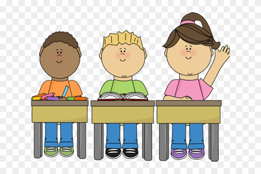 Desk clipart hand on. Student raising