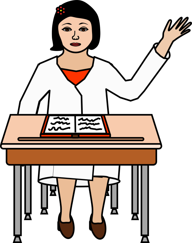 Desk clipart hand on. Student raising her at
