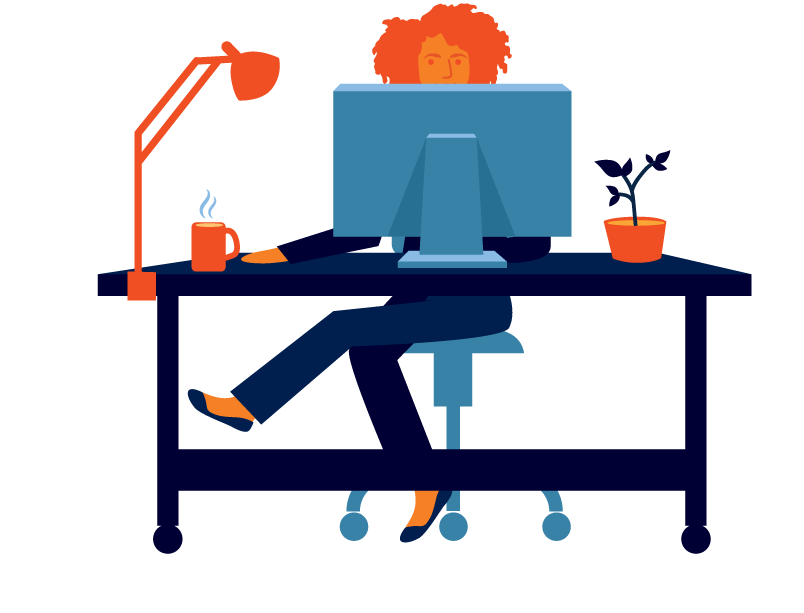 Work at home remote. Telephone clipart desk job