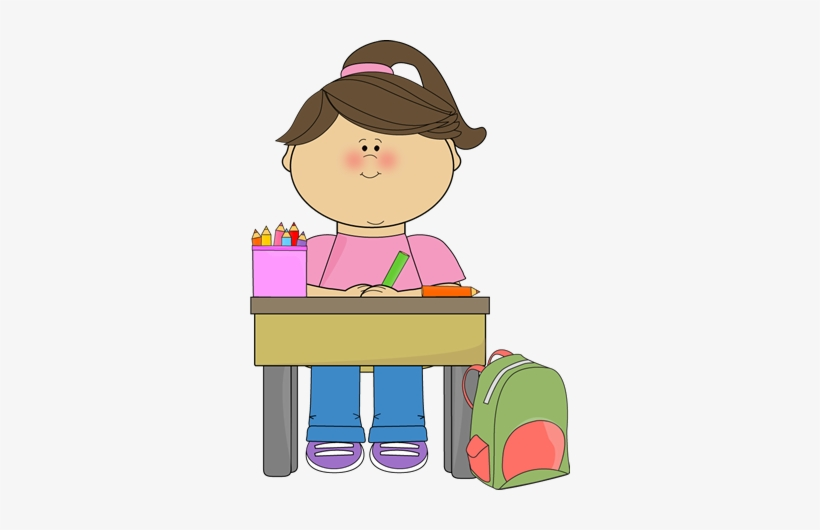 Desk clipart homework. Download free png girl