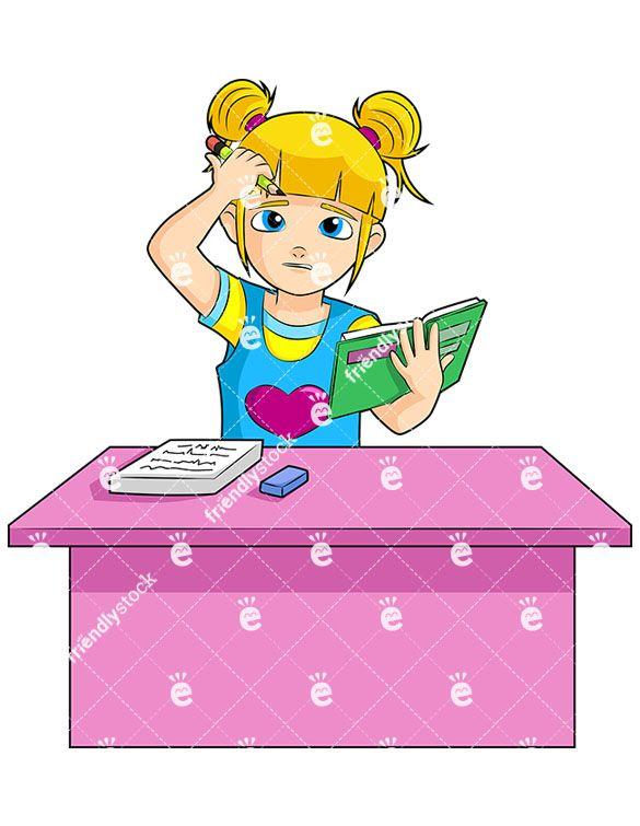 Desk clipart pink desk. A young blonde girl