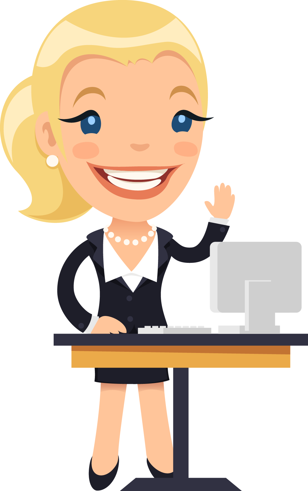 Professional clipart in charge. Cartoon female desk illustration