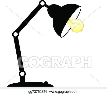 Lamp clipart white background. Vector art desk drawing