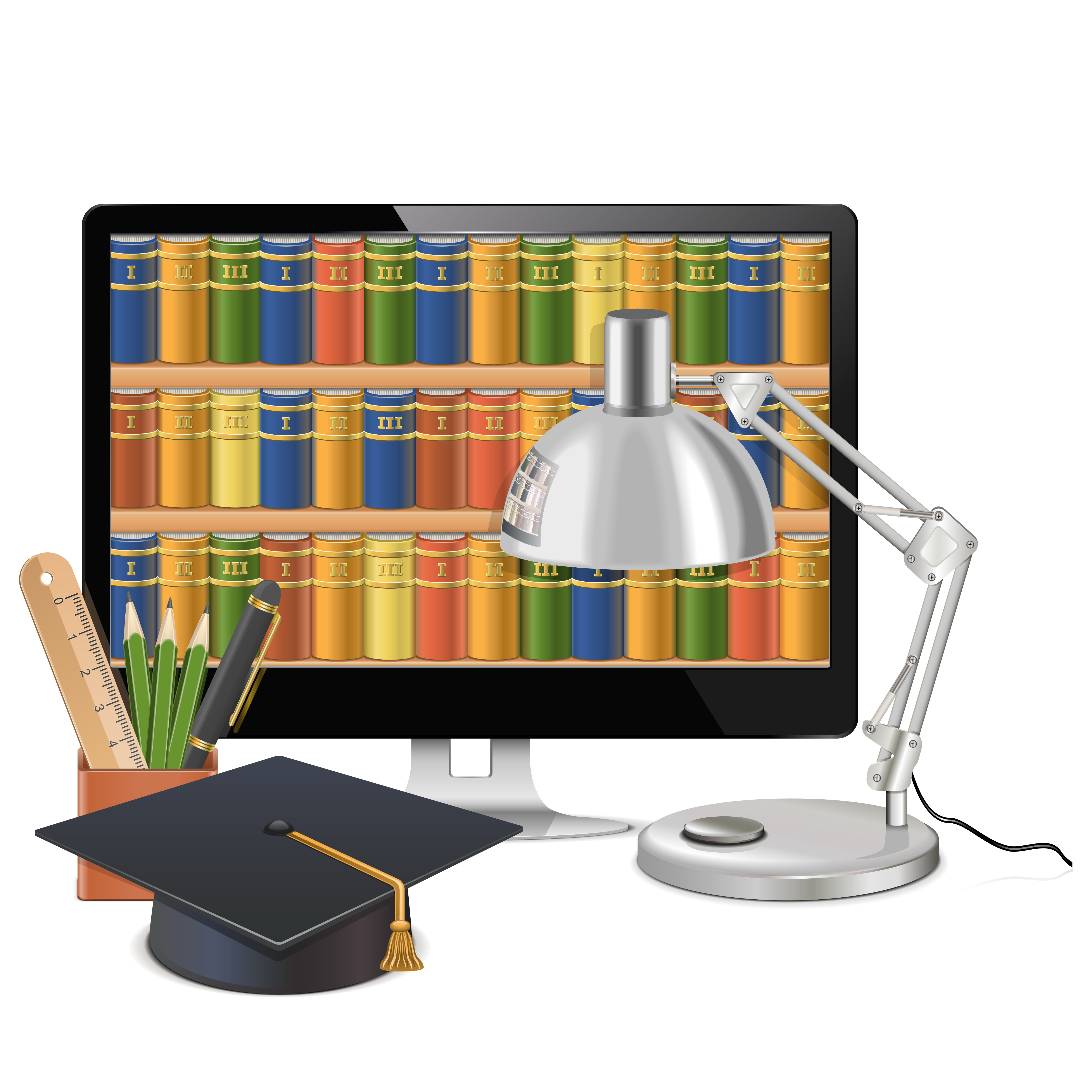 Digital library online public. Clipart desk librarian