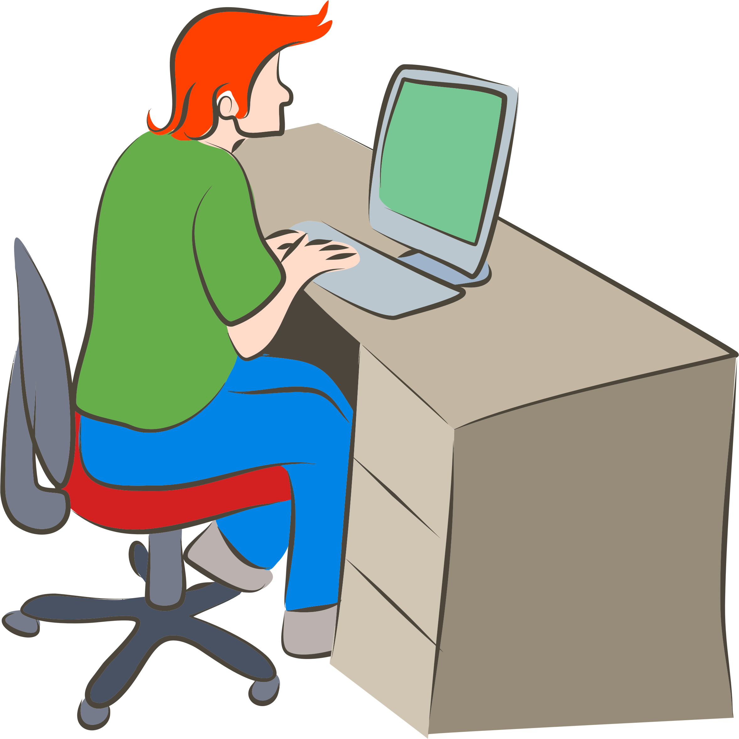 Man using computer big. Pc clipart typing