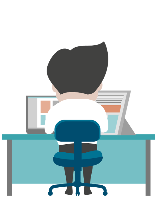 Office clipart corporate office. Man at desk png