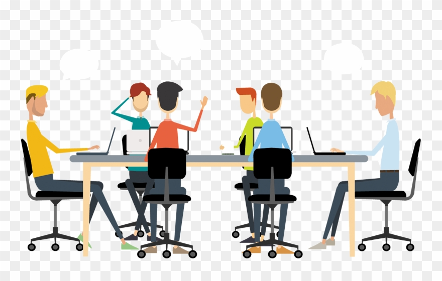 Clipart desk meeting. Business discussion cliparts people