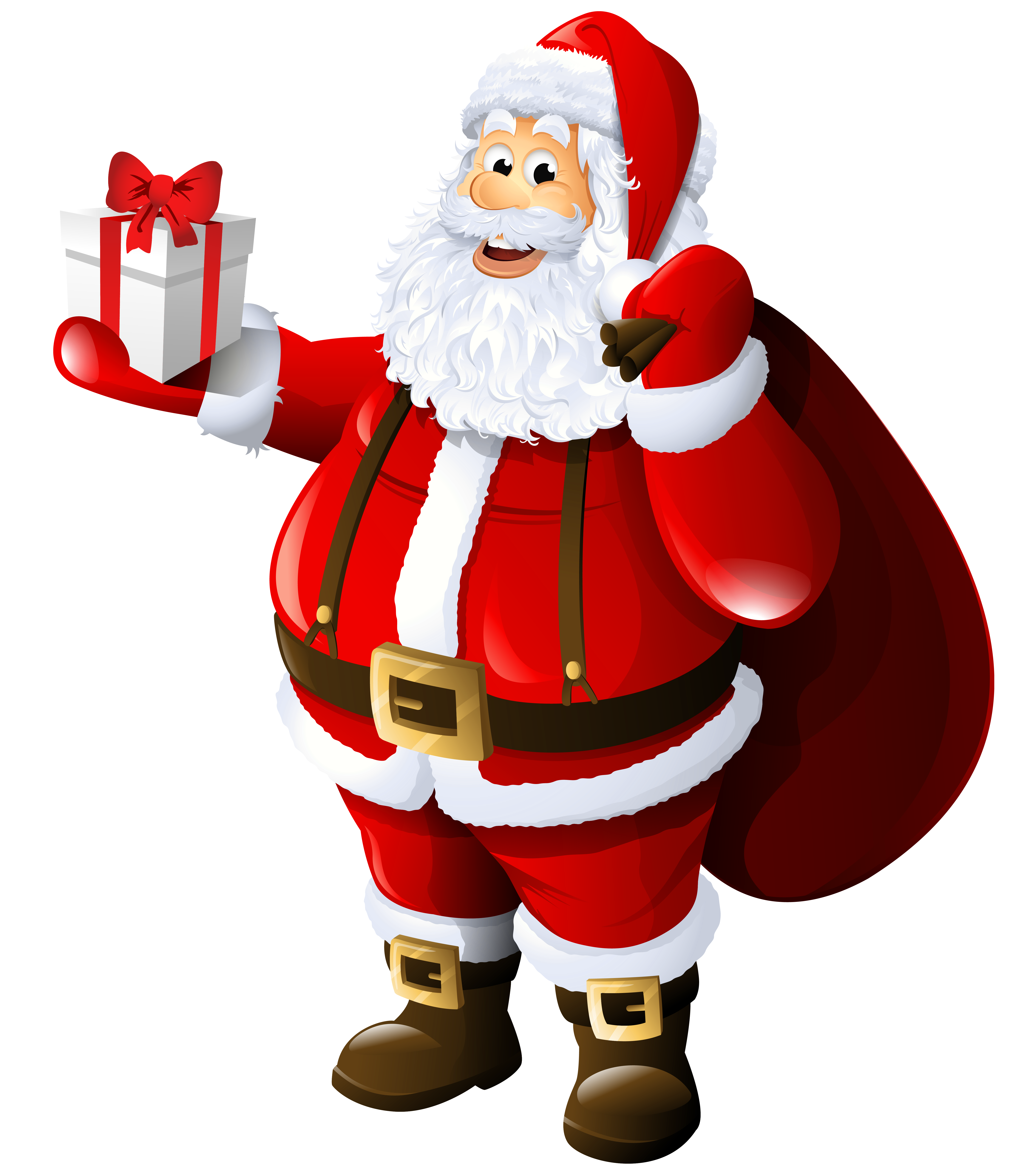 Transparent with gift and. Gifts clipart santa claus