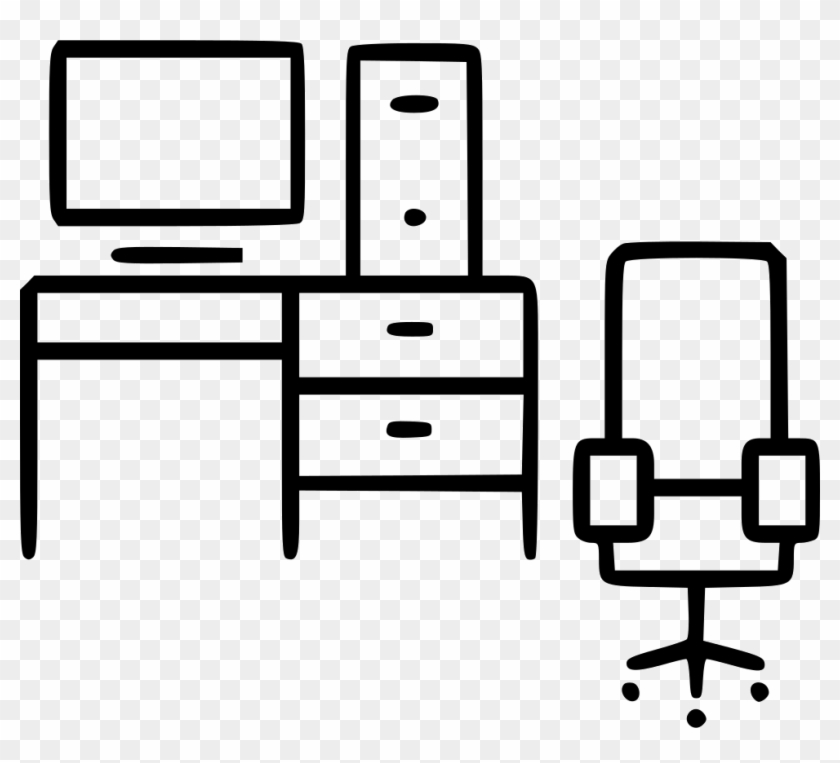 Computer desk office . Furniture clipart clip art