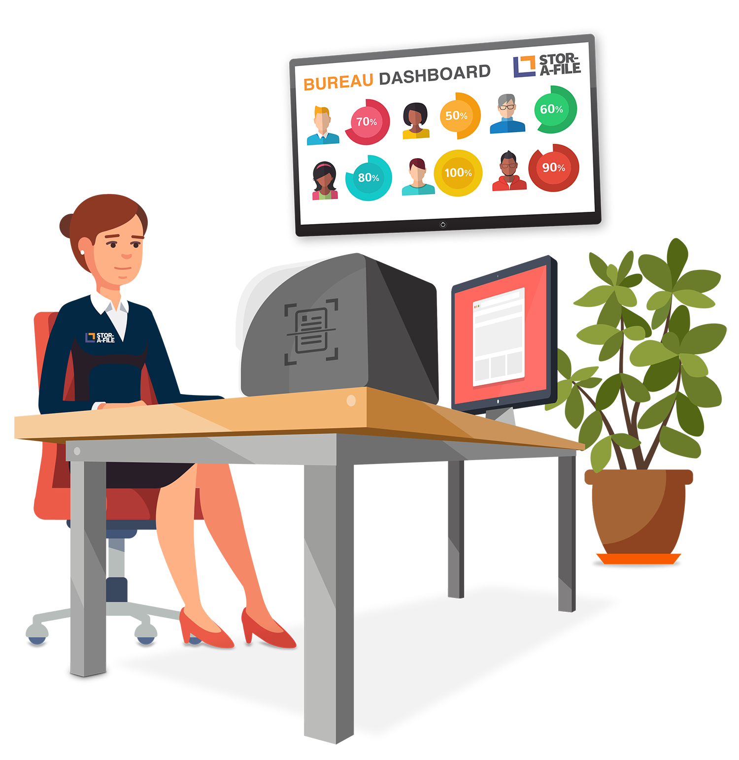 Specialist document scanning stor. Desk clipart organised