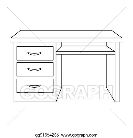 Stock illustrations office icon. Clipart desk outline