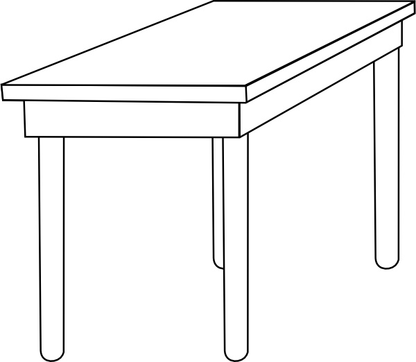Desk clipart square table. Outline free on dumielauxepices