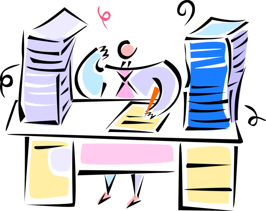 Clipart desk paperwork. Executive at with vector