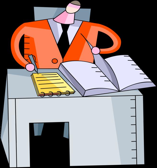 Clipart desk paperwork. Entrepreneur completes at vector