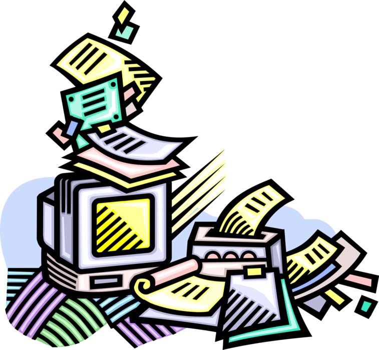 Office swamped with vector. Clipart desk paperwork