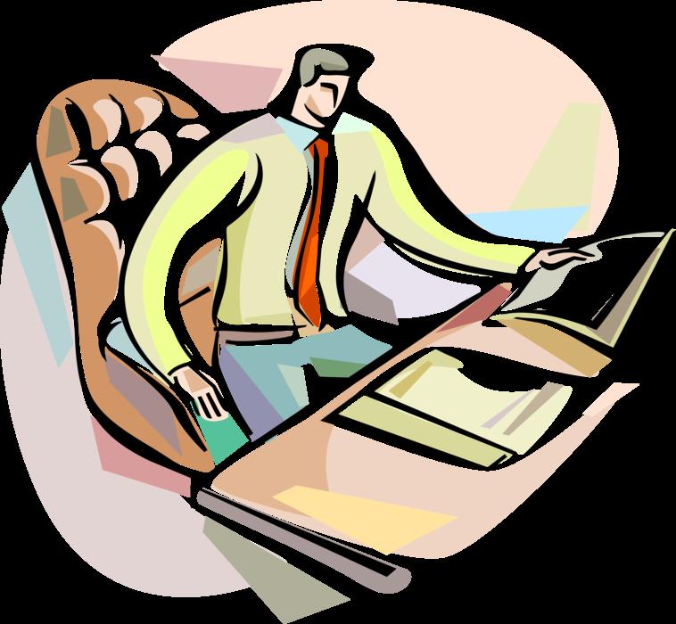 Entrepreneur works on at. Clipart desk paperwork