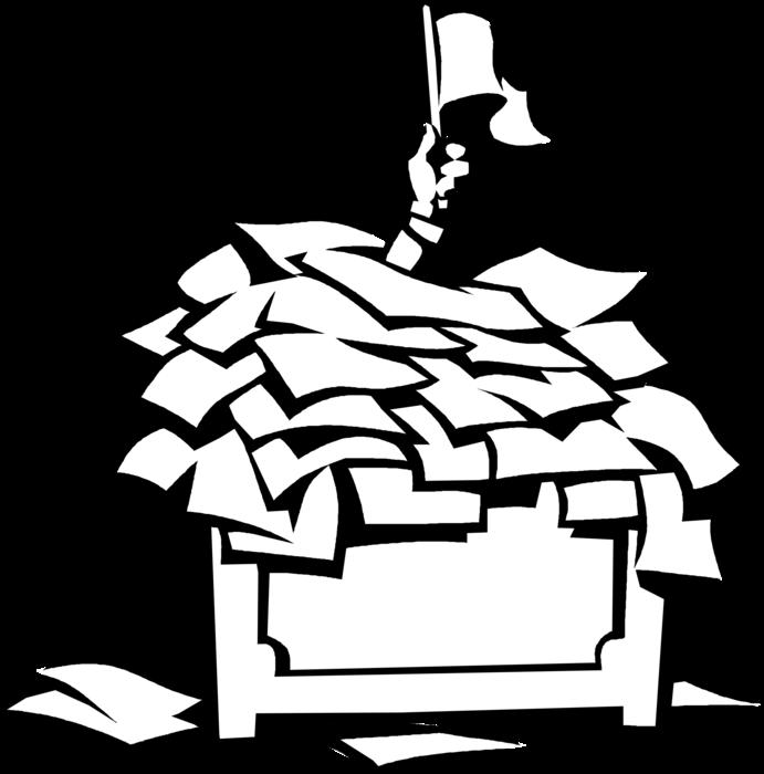 Entrepreneur swamped by vector. Clipart desk paperwork