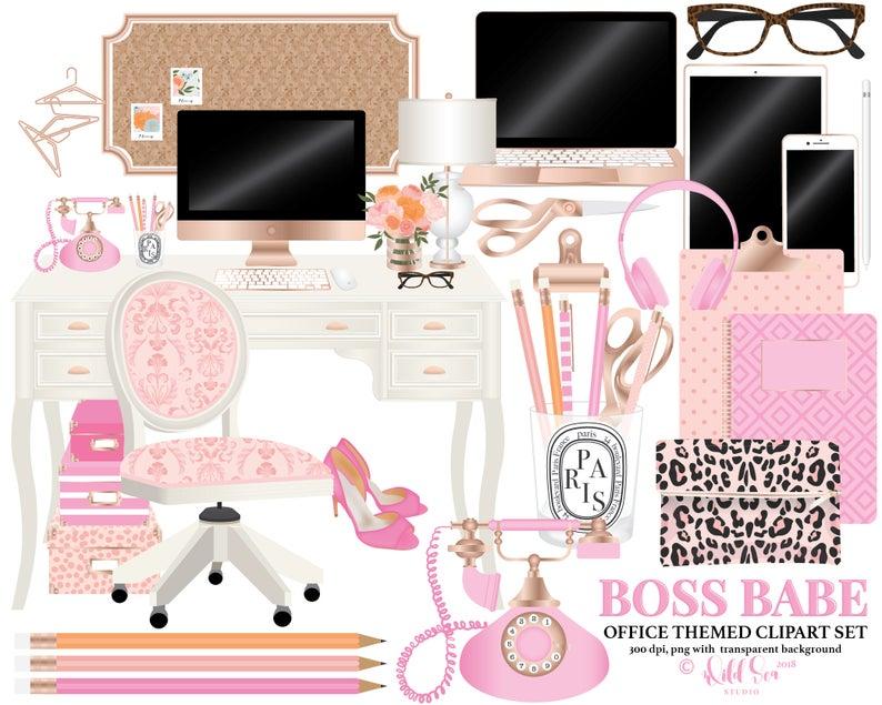 Office themed clip art. Desk clipart pink desk