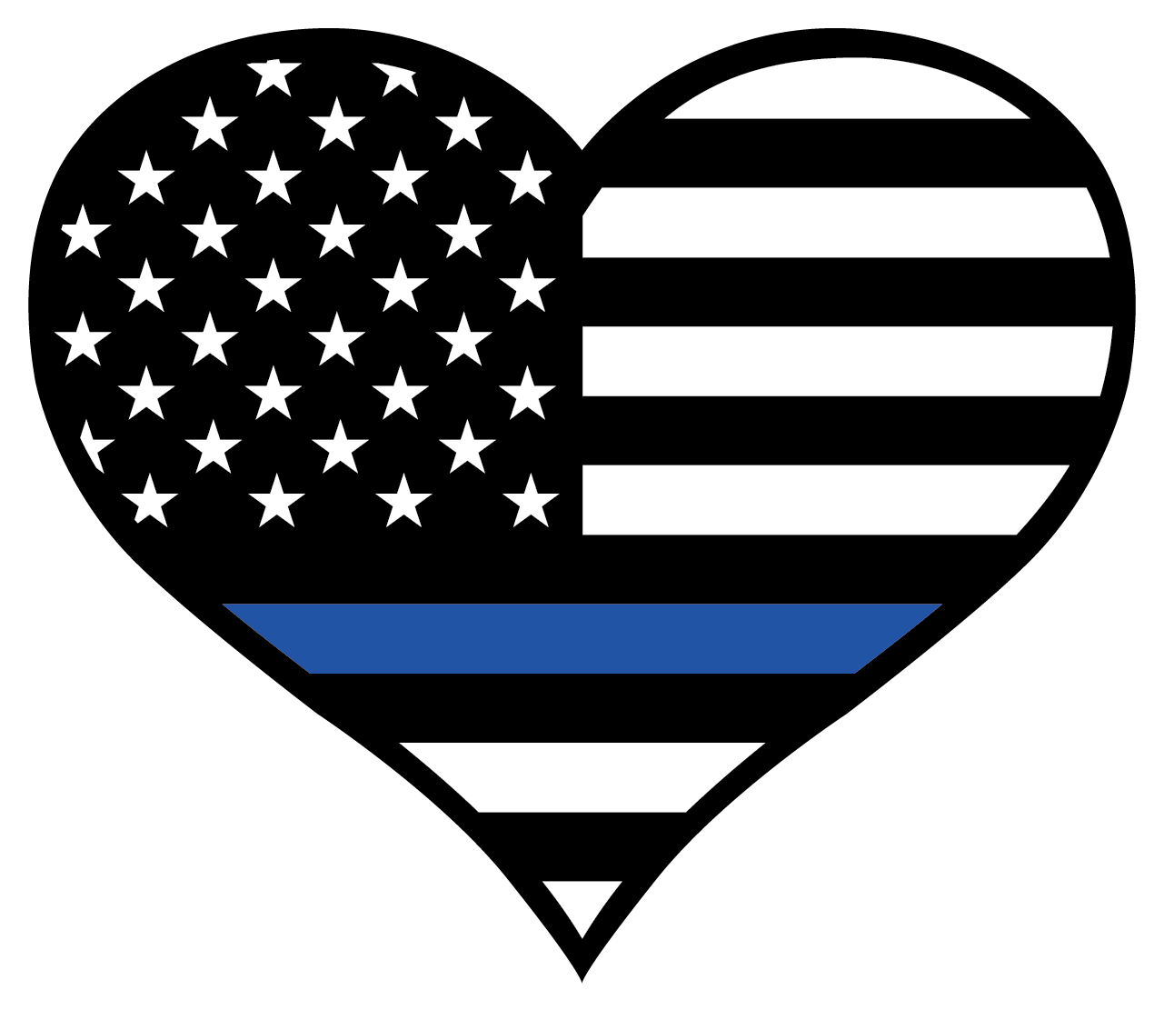 Thin blue line heart. Hearts clipart flag