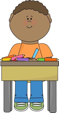 Clipart desk preschool. Boy sitting at school