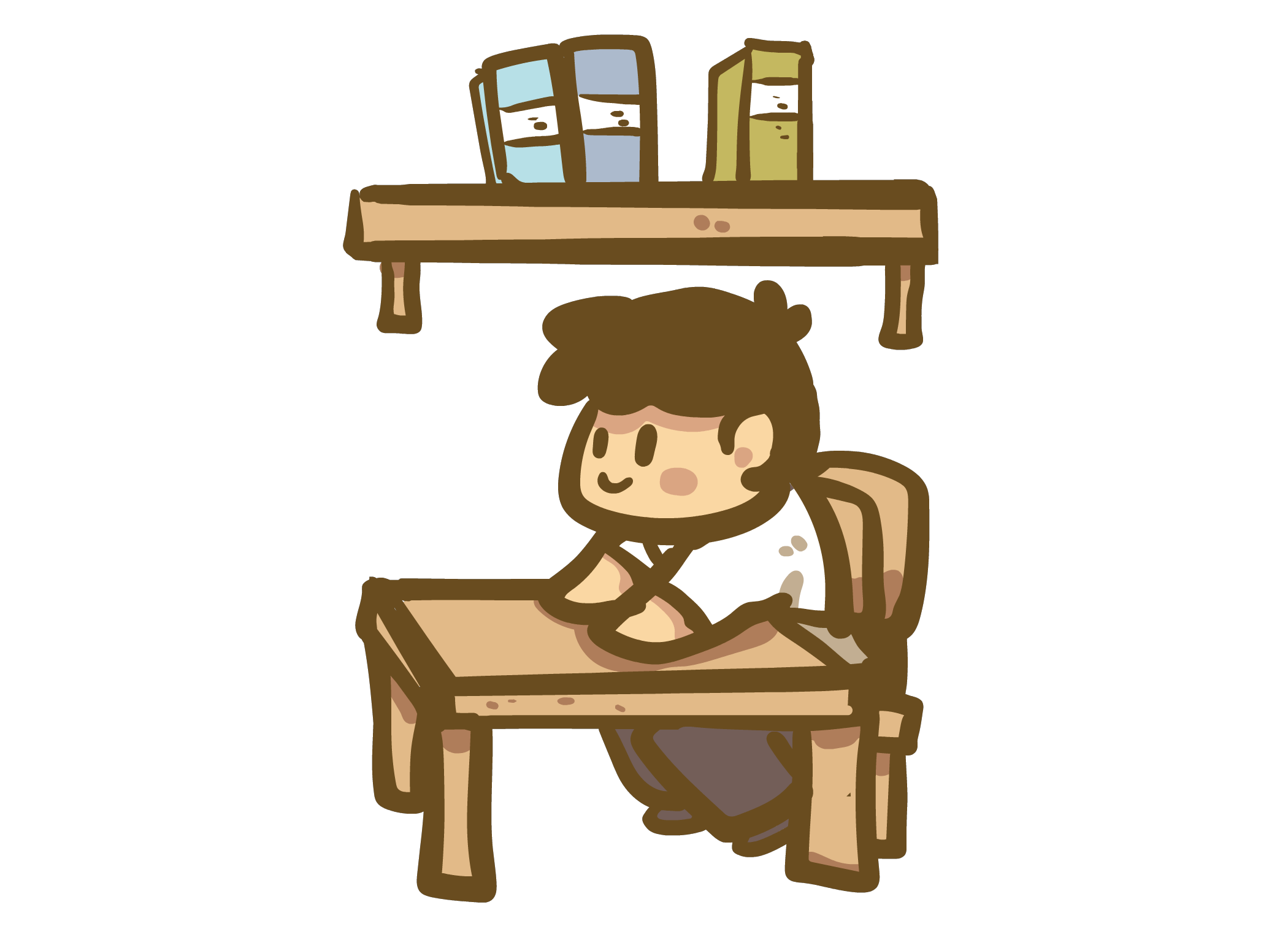 Learning japanese kanji with. Desk clipart school bench
