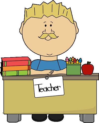 Desk clipart school teacher. Blond male sitting at