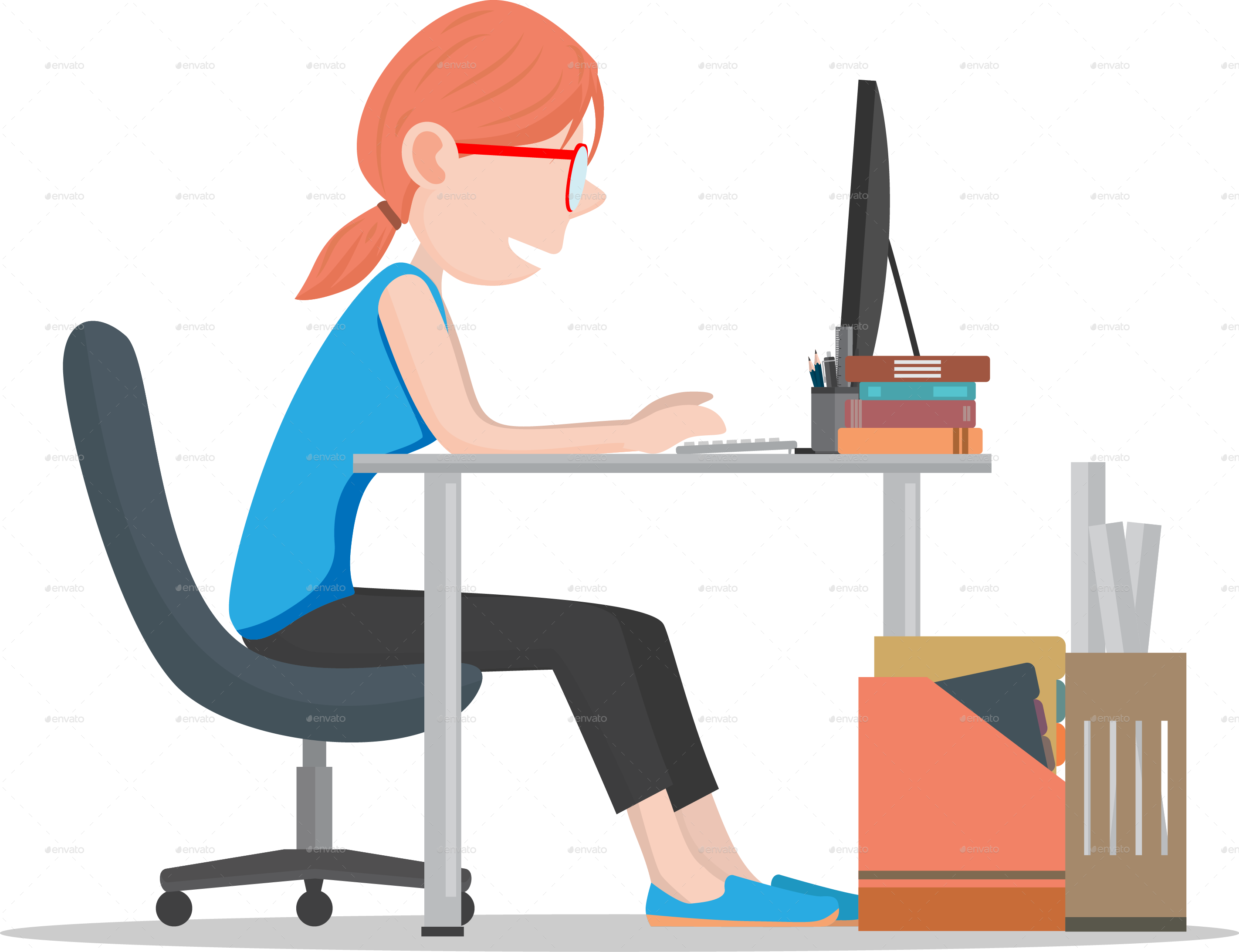 collection of office. Employee clipart computer worker