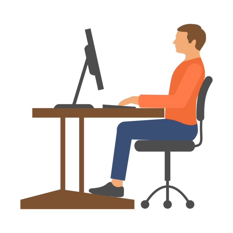 Correcting desk posture video. Furniture clipart computer table