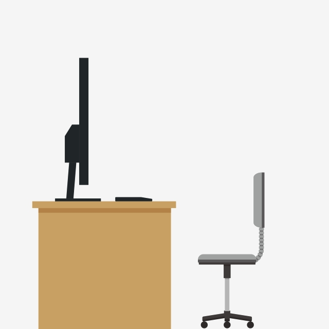 Desk clipart side view. Office scene workstation