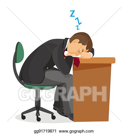 Clipart desk side view. Vector man asleep at