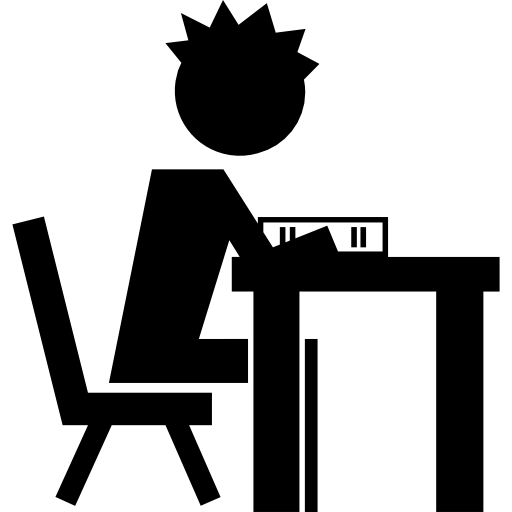 Student reading educational book. Clipart desk side view