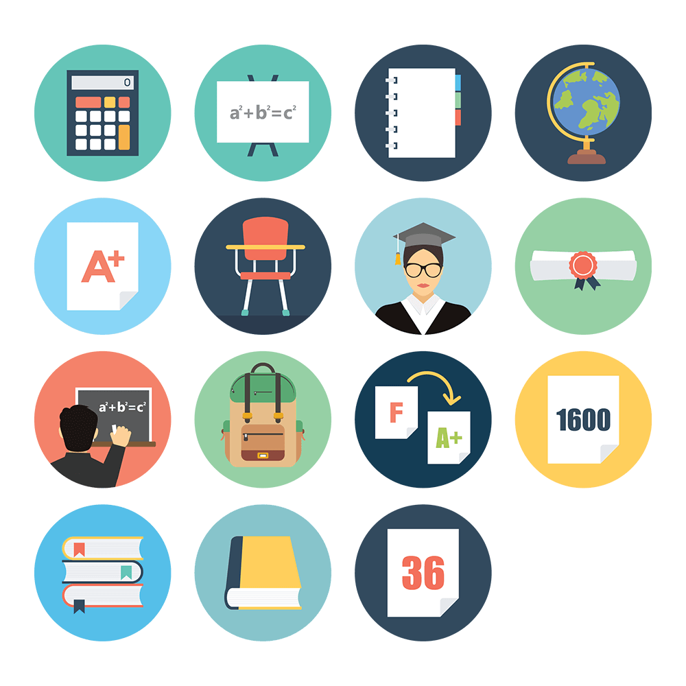 Tutor icon set . Textbook clipart tutoring
