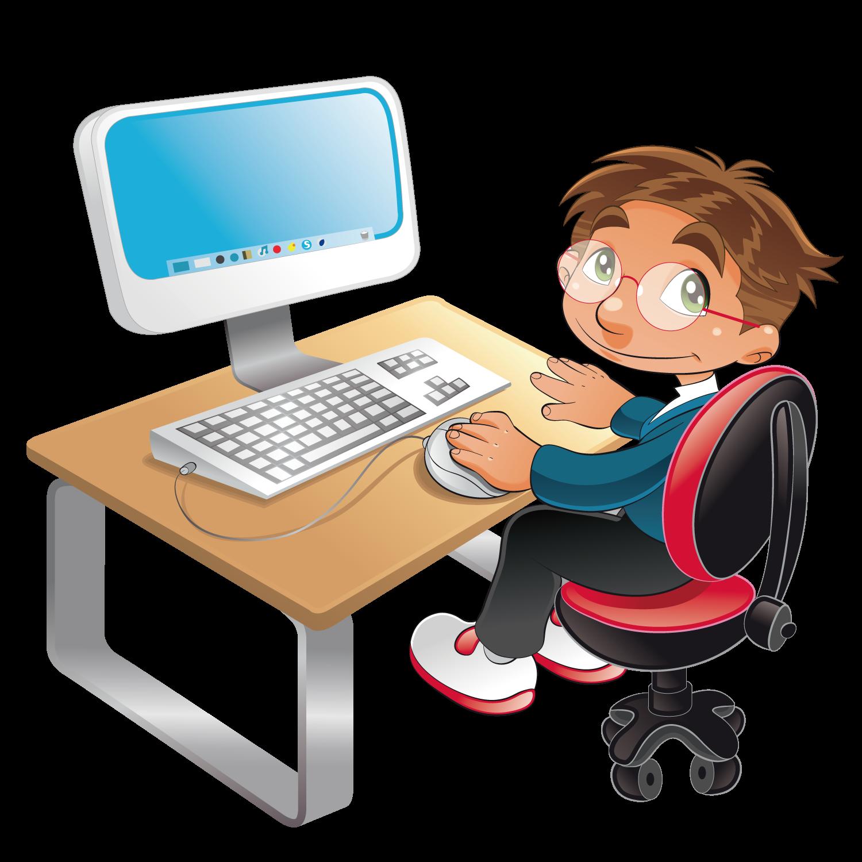 Computer cartoon clip art. Desk clipart student technology