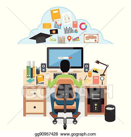 Eps illustration searching education. Desk clipart student technology
